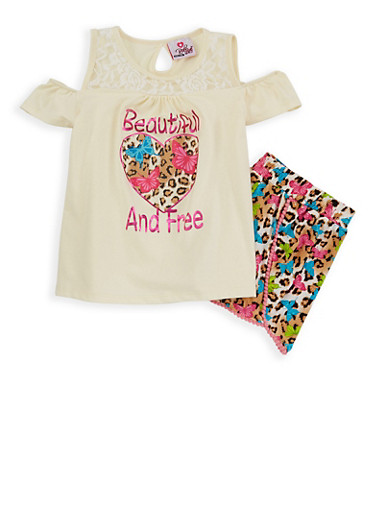 Girls 7-16 Butterfly Printed Top and Shorts Set,IVORY,large