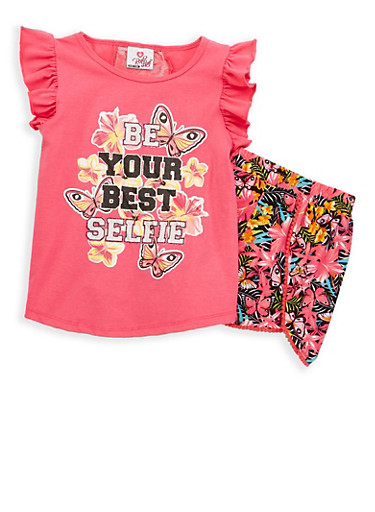 Girls 7-16 Glitter Graphic Top with Shorts,PINK,large