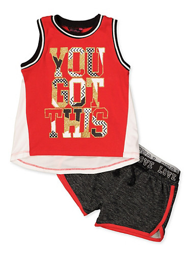 Girls 7-16 You Got This Active Tank Top and Shorts Set,RED,large
