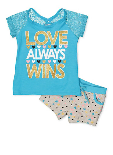 190153a04698 Girls 7-16 Love Always Wins Tee with Heart Print Shorts,TURQUOISE,large