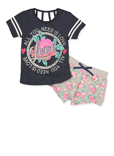 Girls 7-16 All You Need is Love Tee with Floral Shorts,NAVY,large