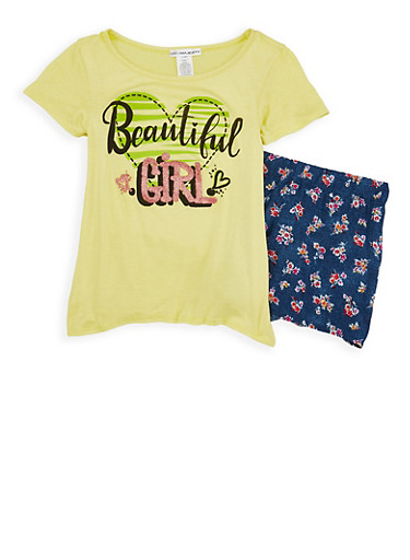 Girls 7-16 Beautiful Girl Graphic Top with Shorts,YELLOW,large