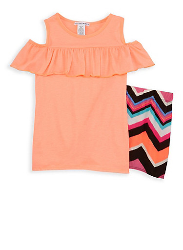 Girls 7-16 Cold Shoulder Top with Chevron Shorts,CORAL,large
