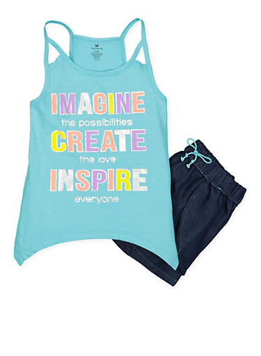 Girls 7-16 Graphic Tank Top with Denim Shorts,TURQUOISE,large