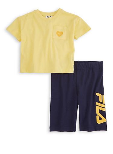 Girls Fila Short Sleeve Tee and Biker Shorts,YELLOW,large