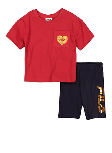 Girls Fila Foil Graphic Heart Pocket Tee and Biker Shorts,RED,large