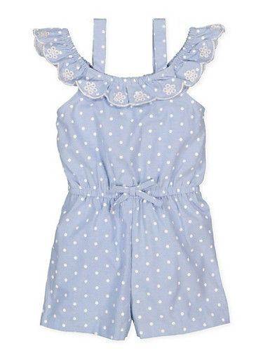 Girls 4-6x Embroidered Polka Dot Romper,CHAMBRAY,large