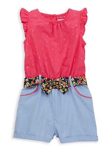 Girls 4-6x Decorative Stitch Chambray Romper | Tuggl