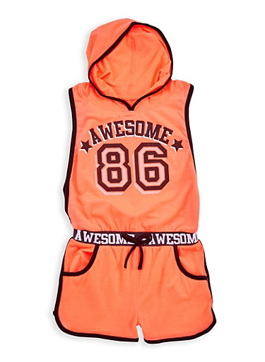 Girls 4-6x Awesome Graphic Romper,BLK/NCORAL,large