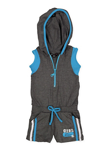 Girls 4-6x Girl Boss Graphic Hooded Romper,CHARCOAL,large
