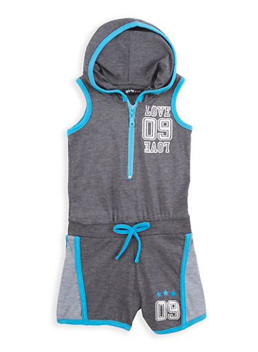 Girls 2T-6x Love Graphic Hooded Romper,TURQUOISE,large