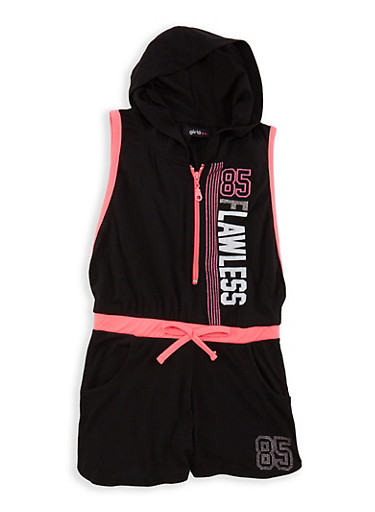 Girls 4-6x Flawless Graphic Romper,BLACK/PINK,large