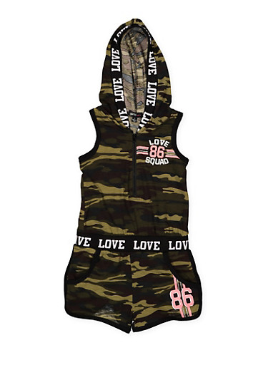 Girls 4-6x Camo Graphic Hooded Romper,CAMOUFLAGE,large