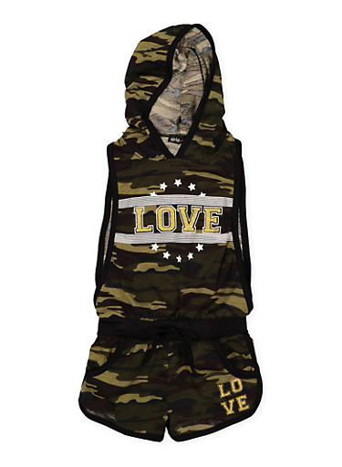 Girls 4-6x Love Graphic Camo Romper,CAMOUFLAGE,large