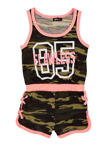 Girls 4-12 Flawless Graphic Camo Romper,CAMOUFLAGE,large