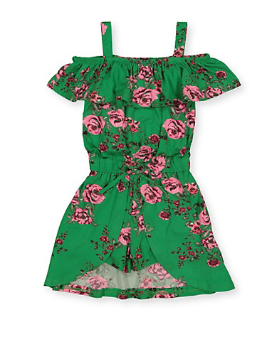 Girls 4-6x Floral Cold Shoulder Overlay Romper,GREEN,large
