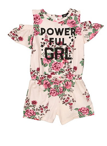 Girls 4-12 Powerful GRL Cold Shoulder Romper,IVORY,large