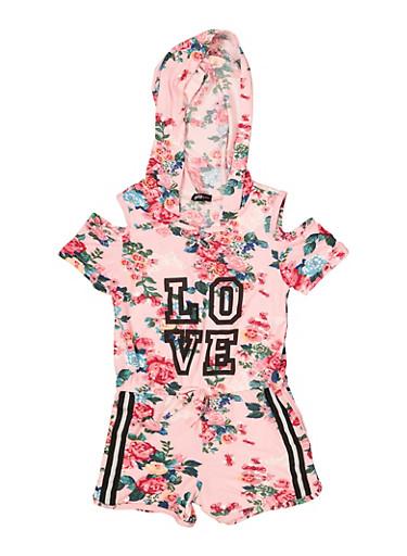 Girls 4-6x Hooded Love Floral Cold Shoulder Romper,MAUVE,large