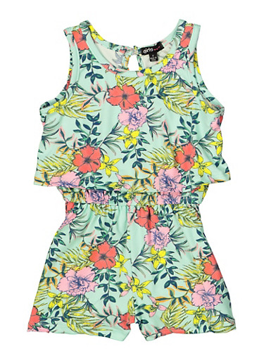 Girls 4-6x Floral Tank Overlay Romper,MINT,large