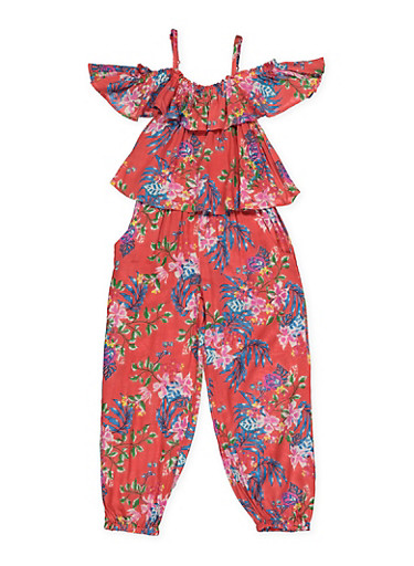 Girls 4-6x Floral Overlay Jumpsuit,CORAL,large