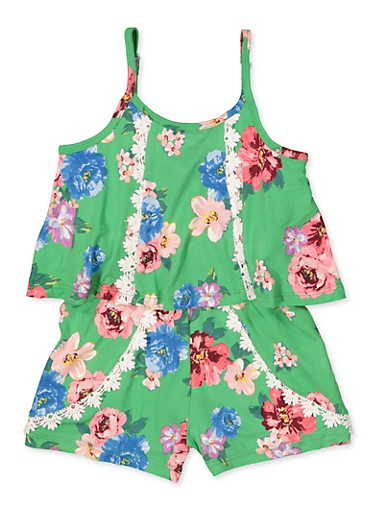 Girls 4-6x Floral Overlay Cami Romper,GREEN,large