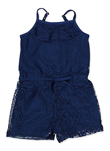 Girls 4-6x Lace Cami Romper,NAVY,large
