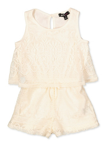 Girls 4-6x Lace Overlay Tank Romper,IVORY,large