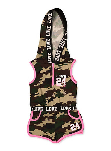 Girls 4-6x  Hooded Camo Romper,OLIVE,large