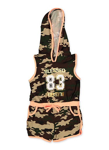 Girls 4-6x Blessed Camo Hooded Romper,OLIVE,large
