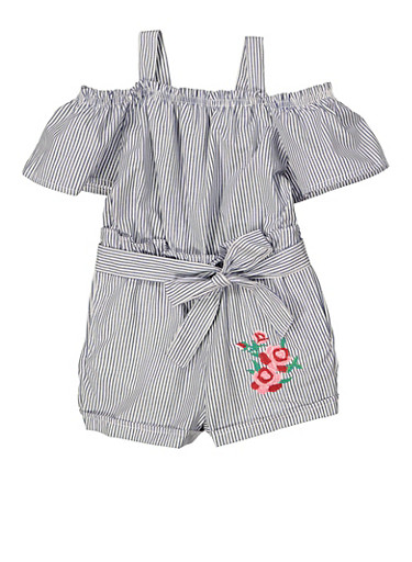 Girls 4-6x Striped Tiered Sleeve Romper,NAVY,large