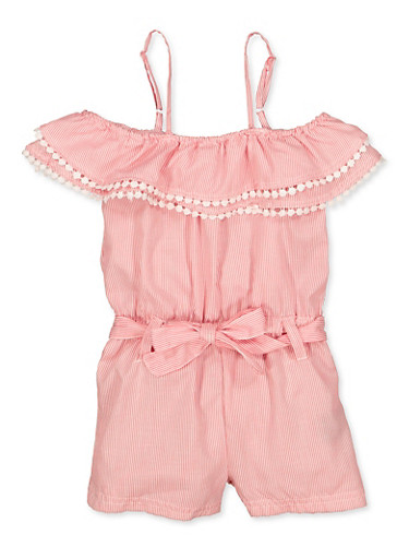 Girls 4-6x Striped Off the Shoulder Romper | 1618038340158,CORAL,large