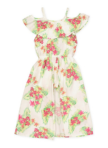Girls 4-6x Floral Ruffle Maxi Romper,IVORY,large