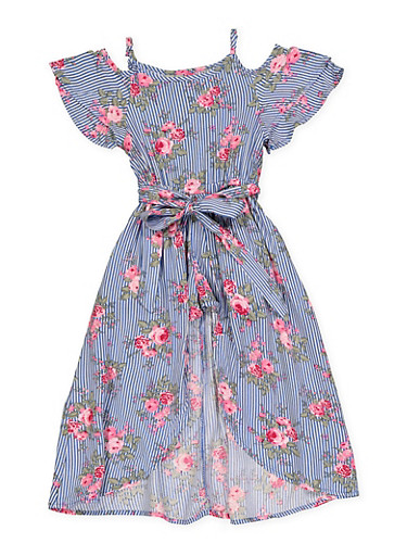 Girls 4-6x Striped Floral Maxi Romper,NAVY,large