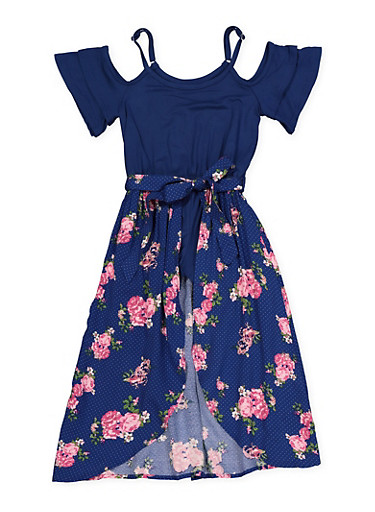 Girls 4-6x Floral Polka Dot Maxi Romper,NAVY,large