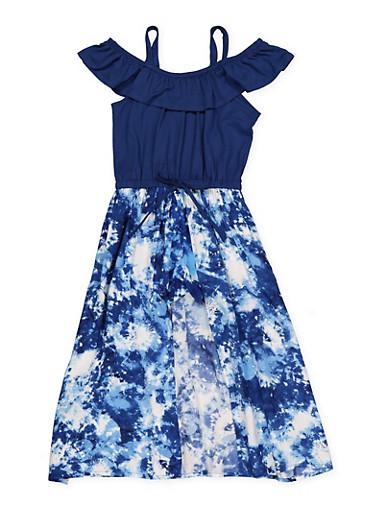 Girls 4-6x Tie Dye Maxi Romper,NAVY,large