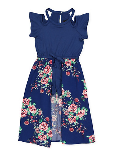 Girls 4-6x Floral Maxi Romper,NAVY,large