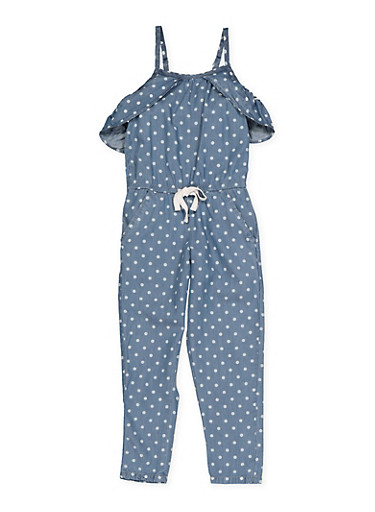 Girls 4-6x Polka Dot Cold Shoulder Jumpsuit,LIGHT WASH,large