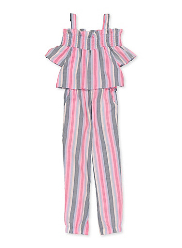 Girls 4-16 Smocked Trim Cold Shoulder Striped Jumpsuit,PINK,large