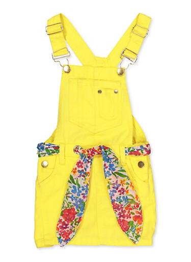 Girls 4-6x Tie Waist Twill Overall Dress,YELLOW,large