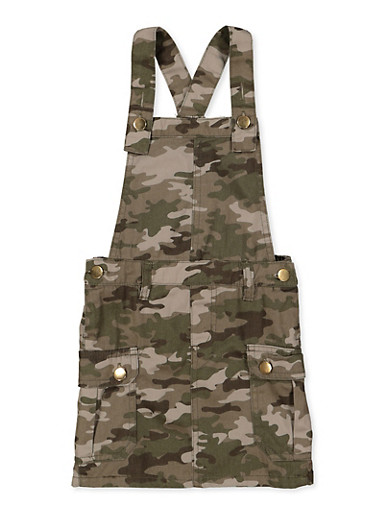 Girls 4-6x Camo Overall Dress,TAN,large