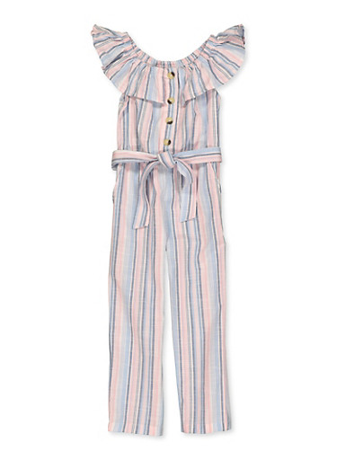 Girls 4-6x Striped Linen Belted Jumpsuit,PINK,large