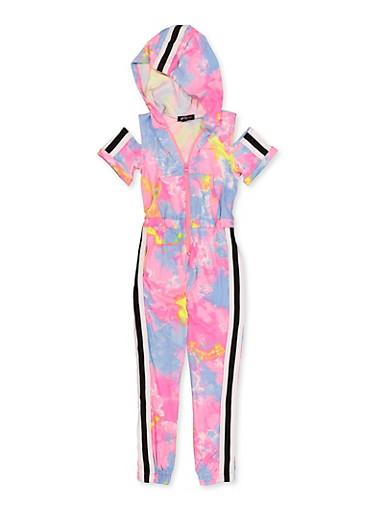 Girls 4-6x Tye Die Hooded Zip Jumpsuit,NEON PINK,large