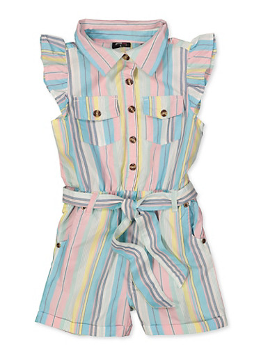 Girls 4-6x Striped Button Front Romper,TEAL,large