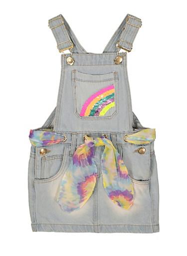 Little Girls Reversible Sequin Rainbow Overall Dress,LIGHT WASH,large