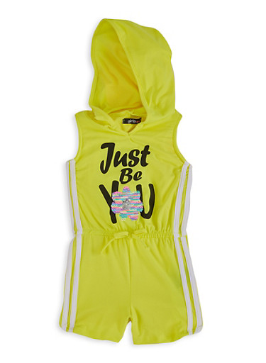 Little Girls Just Be You Reversible Sequin Romper,YELLOW,large