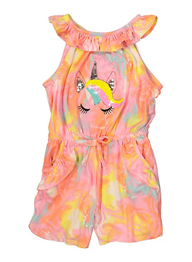 Little Girls Reversible Sequin Unicorn Printed Romper,NEON PINK,large