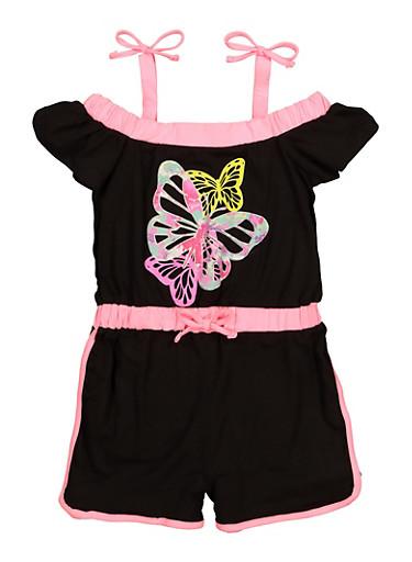 Little Girls Butterfly Romper,BLACK,large