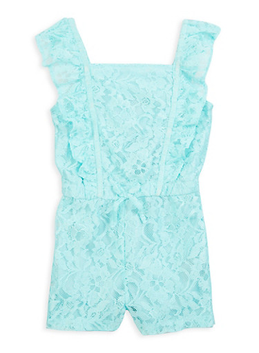 Little Girls Ruffled Lace Romper,TURQUOISE,large