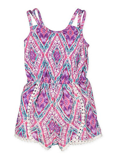Girls 4-16 Printed Crochet Trim Romper,TURQUOISE,large
