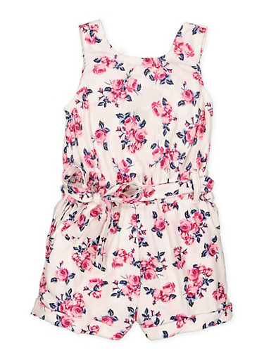 Girls 4-6x Caged Back Floral Romper,IVORY,large